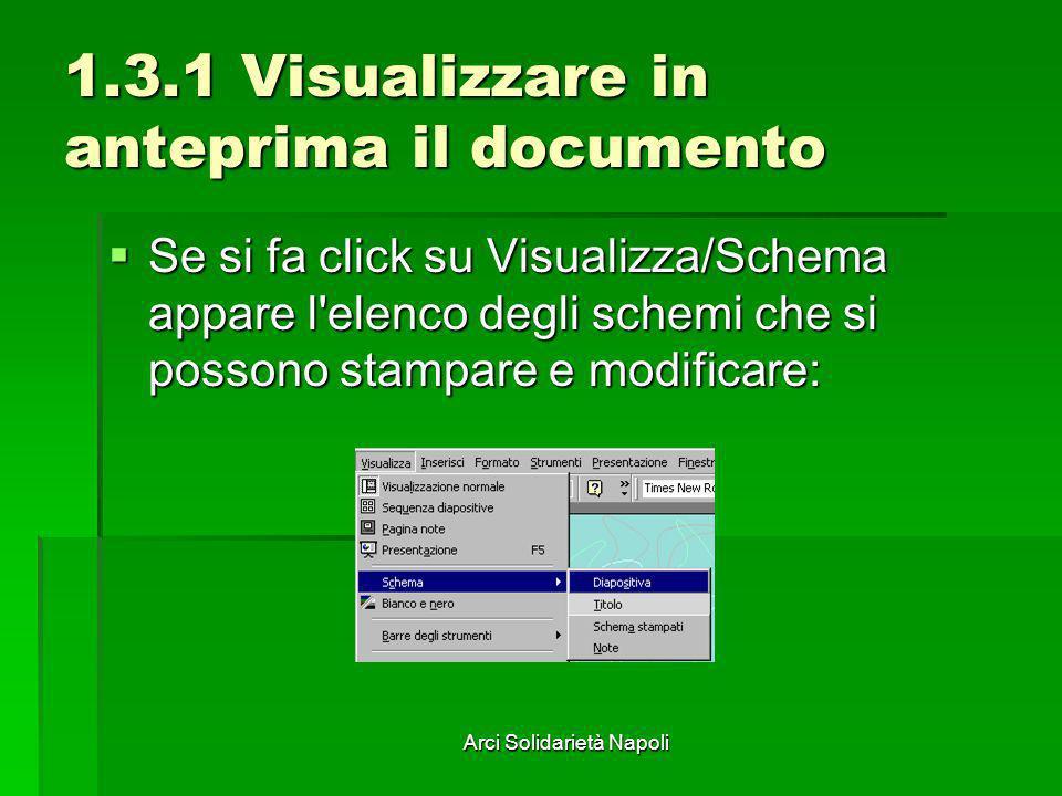 Arci Solidarietà Napoli 1.3.1 Visualizzare in anteprima il documento Se si fa click su Visualizza/Schema appare l'elenco degli schemi che si possono s
