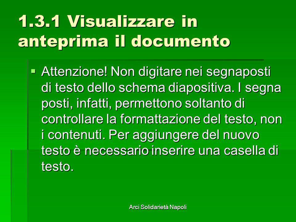Arci Solidarietà Napoli 1.3.1 Visualizzare in anteprima il documento Attenzione! Non digitare nei segnaposti di testo dello schema diapositiva. I segn