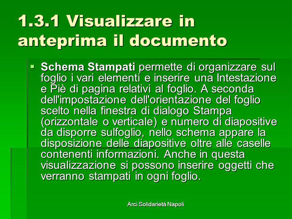 Arci Solidarietà Napoli 1.3.1 Visualizzare in anteprima il documento Schema Stampati permette di organizzare sul foglio i vari elementi e inserire una