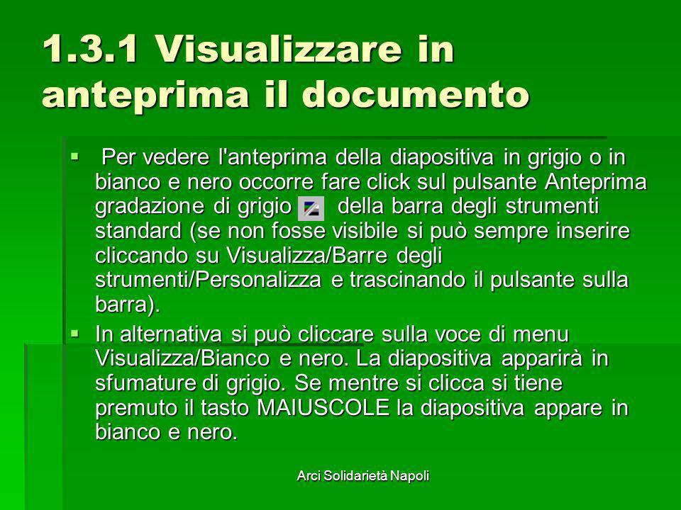 Arci Solidarietà Napoli 1.3.1 Visualizzare in anteprima il documento Per vedere l'anteprima della diapositiva in grigio o in bianco e nero occorre far