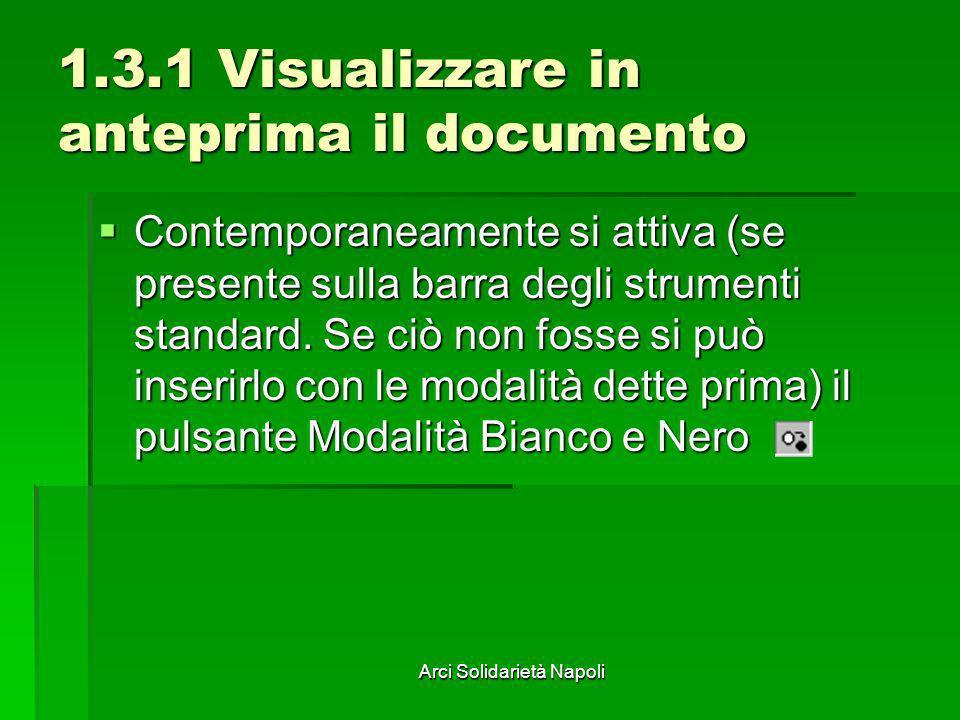 Arci Solidarietà Napoli 1.3.1 Visualizzare in anteprima il documento Contemporaneamente si attiva (se presente sulla barra degli strumenti standard. S