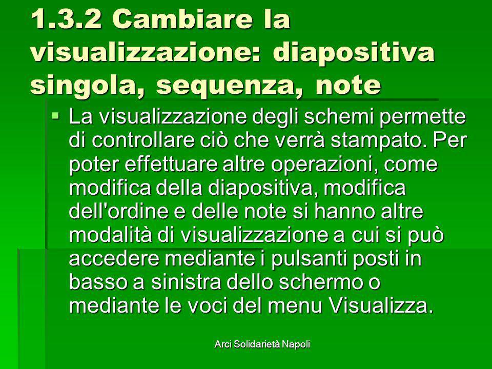 Arci Solidarietà Napoli 1.3.2 Cambiare la visualizzazione: diapositiva singola, sequenza, note La visualizzazione degli schemi permette di controllare
