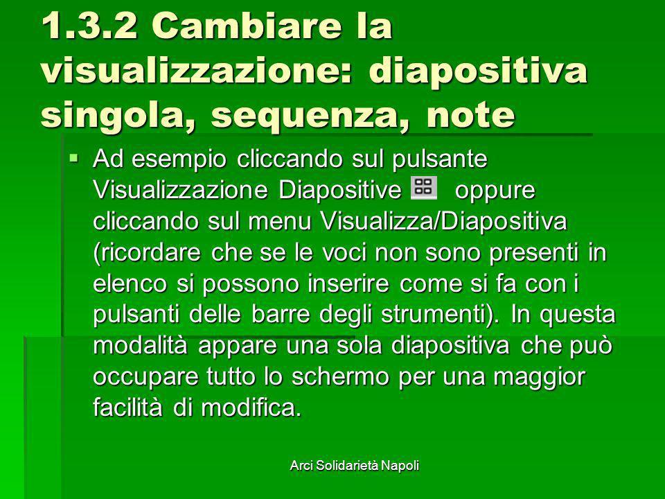 Arci Solidarietà Napoli 1.3.2 Cambiare la visualizzazione: diapositiva singola, sequenza, note Ad esempio cliccando sul pulsante Visualizzazione Diapo