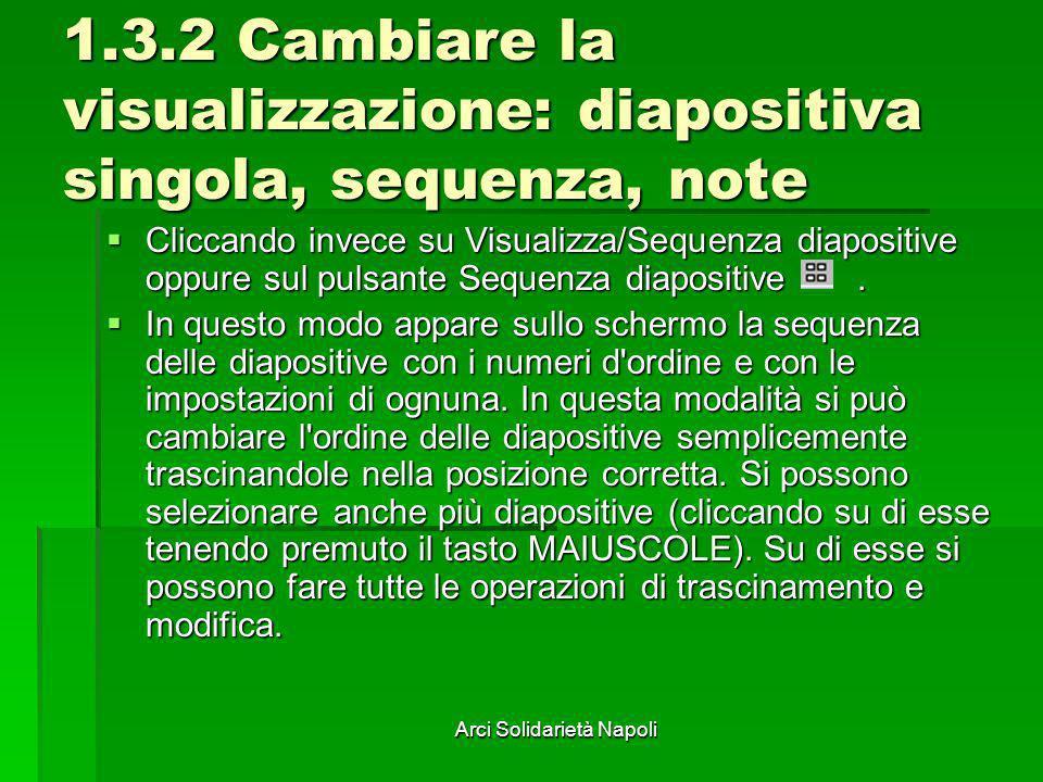 Arci Solidarietà Napoli 1.3.2 Cambiare la visualizzazione: diapositiva singola, sequenza, note Cliccando invece su Visualizza/Sequenza diapositive opp