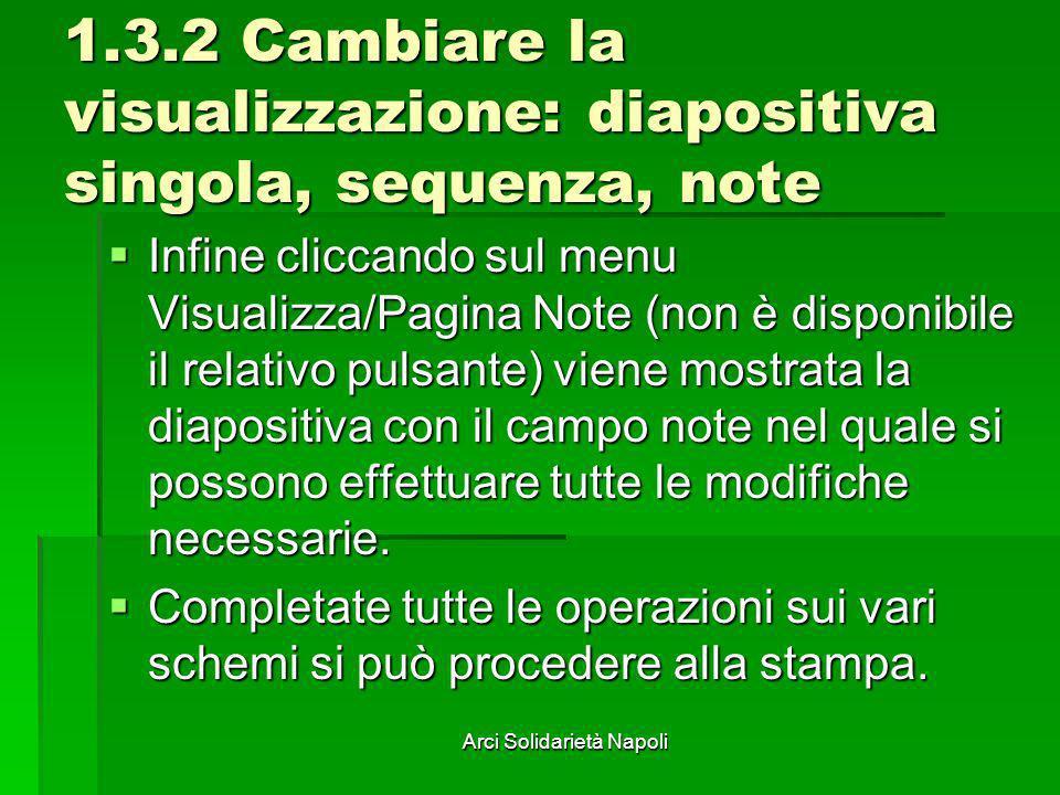 Arci Solidarietà Napoli 1.3.2 Cambiare la visualizzazione: diapositiva singola, sequenza, note Infine cliccando sul menu Visualizza/Pagina Note (non è
