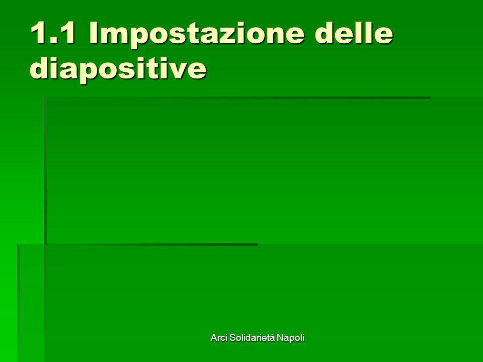 Arci Solidarietà Napoli 1.1 Impostazione delle diapositive