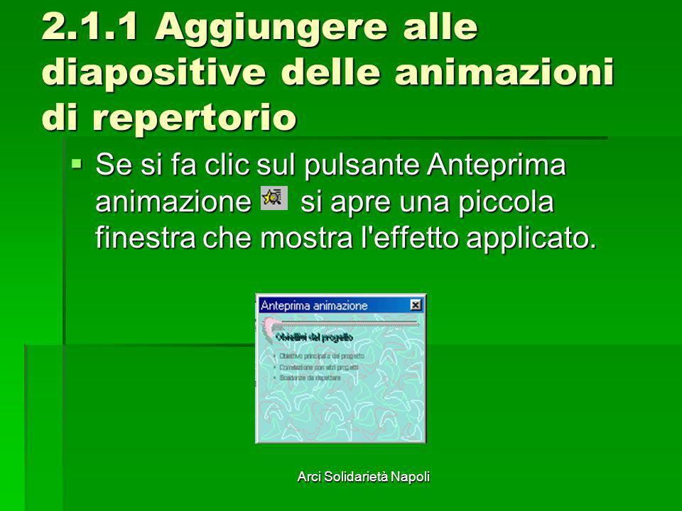Arci Solidarietà Napoli 2.1.1 Aggiungere alle diapositive delle animazioni di repertorio Se si fa clic sul pulsante Anteprima animazione si apre una p