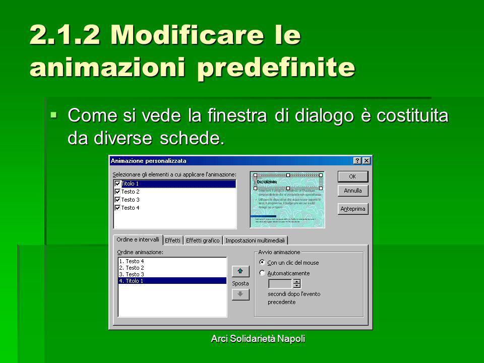 Arci Solidarietà Napoli 2.1.2 Modificare le animazioni predefinite Come si vede la finestra di dialogo è costituita da diverse schede. Come si vede la