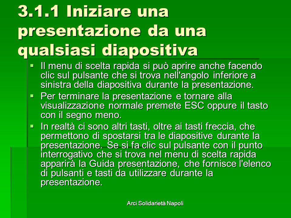 Arci Solidarietà Napoli 3.1.1 Iniziare una presentazione da una qualsiasi diapositiva Il menu di scelta rapida si può aprire anche facendo clic sul pu
