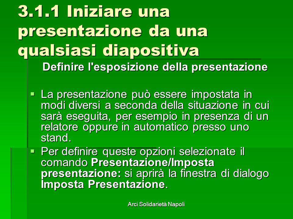 Arci Solidarietà Napoli 3.1.1 Iniziare una presentazione da una qualsiasi diapositiva Definire l'esposizione della presentazione La presentazione può