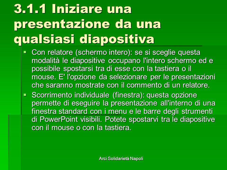 Arci Solidarietà Napoli 3.1.1 Iniziare una presentazione da una qualsiasi diapositiva Con relatore (schermo intero): se si sceglie questa modalità le