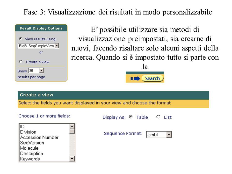 Fase 3: Visualizzazione dei risultati in modo personalizzabile E possibile utilizzare sia metodi di visualizzazione preimpostati, sia crearne di nuovi