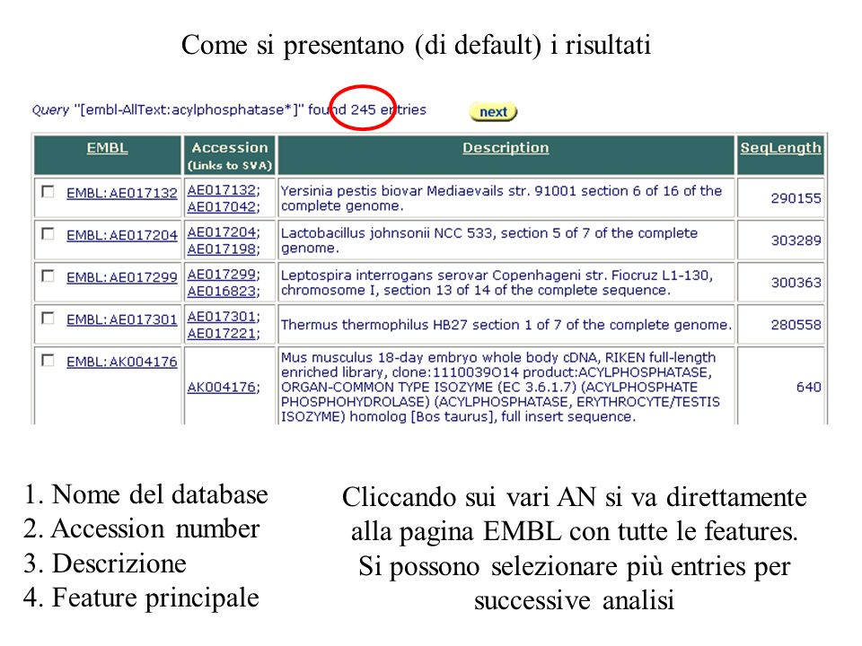 Come si presentano (di default) i risultati 1. Nome del database 2. Accession number 3. Descrizione 4. Feature principale Cliccando sui vari AN si va