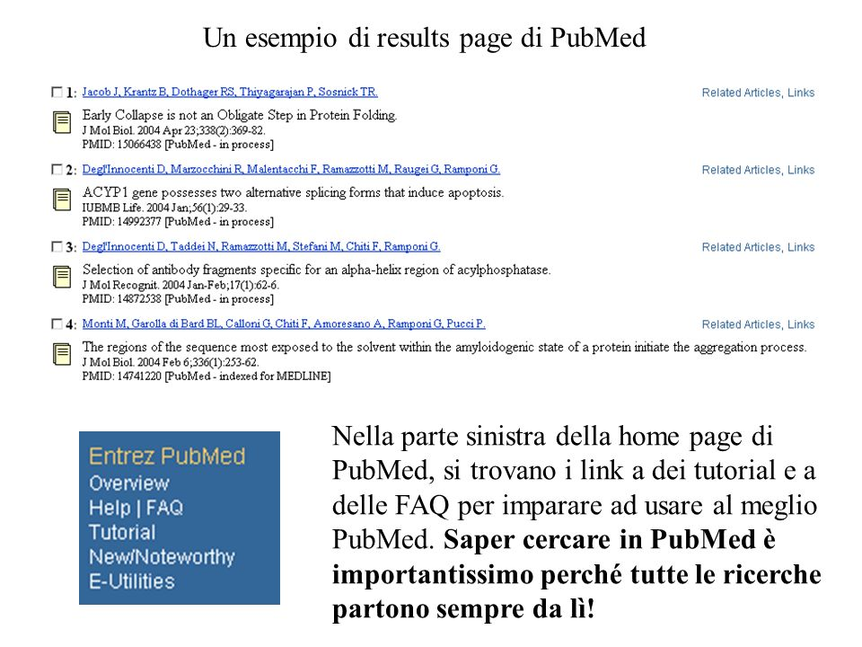 192 entries in PubMed 330 entries in Nucleotide 244 entries in Protein Cliccando sul database si accede così alle varie entries