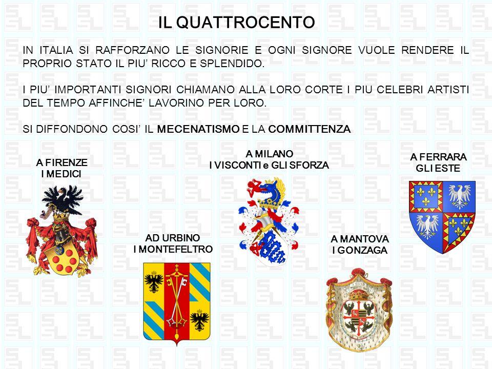 IL QUATTROCENTO IN ITALIA SI RAFFORZANO LE SIGNORIE E OGNI SIGNORE VUOLE RENDERE IL PROPRIO STATO IL PIU RICCO E SPLENDIDO. I PIU IMPORTANTI SIGNORI C