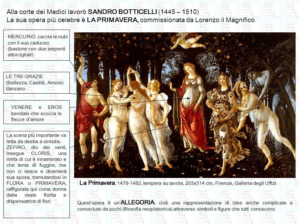 Alla corte dei Medici lavorò SANDRO BOTTICELLI (1445 – 1510) La sua opera più celebre è LA PRIMAVERA, commissionata da Lorenzo il Magnifico MERCURIO c