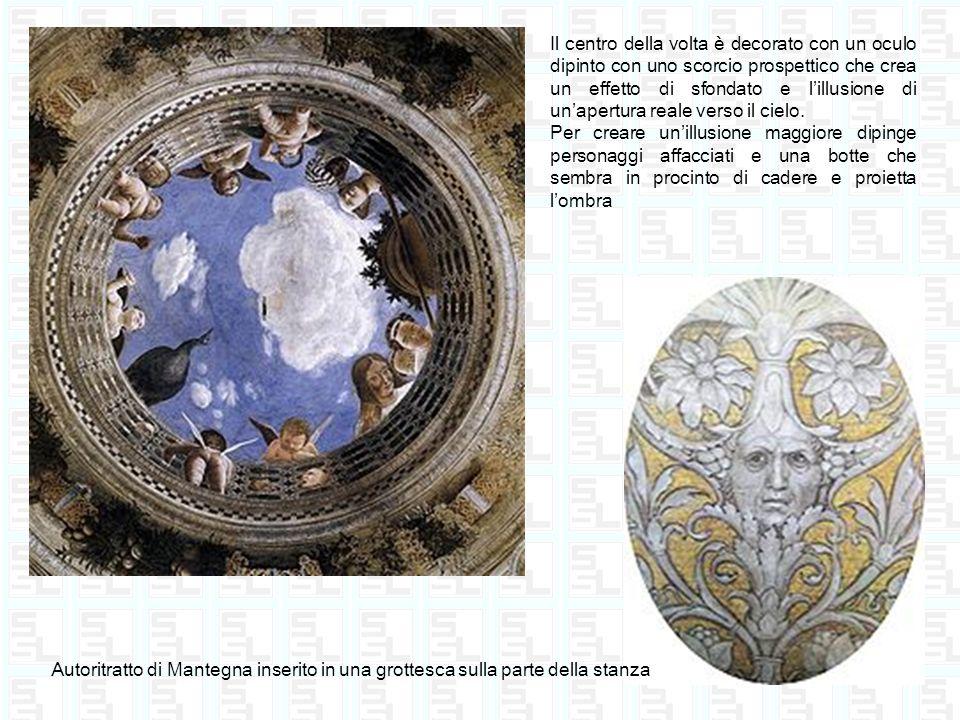 Il centro della volta è decorato con un oculo dipinto con uno scorcio prospettico che crea un effetto di sfondato e lillusione di unapertura reale ver