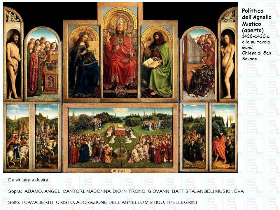 Polittico dellAgnello Mistico (aperto) 1428–1430 c. olio su tavola Gand, Chiesa di San Bovone Da sinistra a destra Sopra: ADAMO, ANGELI CANTORI, MADON