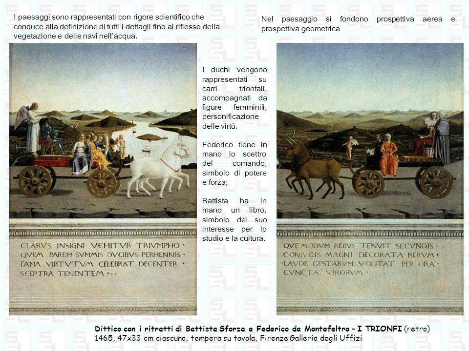 Dittico con i ritratti di Battista Sforza e Federico da Montefeltro – I TRIONFI (retro) 1465, 47x33 cm ciascuno, tempera su tavola, Firenze Galleria d