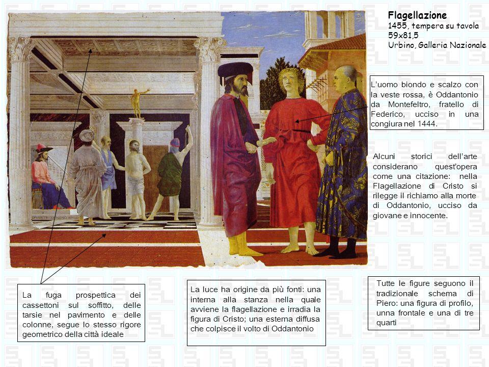 Flagellazione 1455, tempera su tavola 59x81,5 Urbino, Galleria Nazionale Luomo biondo e scalzo con la veste rossa, è Oddantonio da Montefeltro, fratel