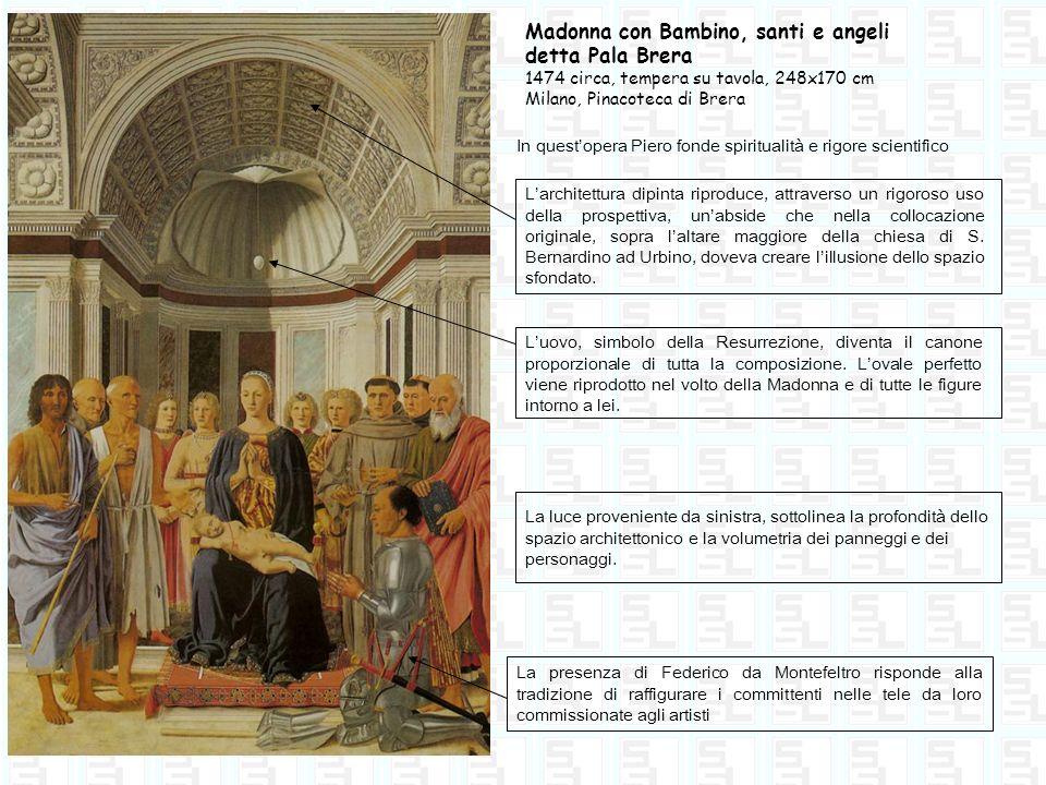 Madonna con Bambino, santi e angeli detta Pala Brera 1474 circa, tempera su tavola, 248x170 cm Milano, Pinacoteca di Brera In questopera Piero fonde s