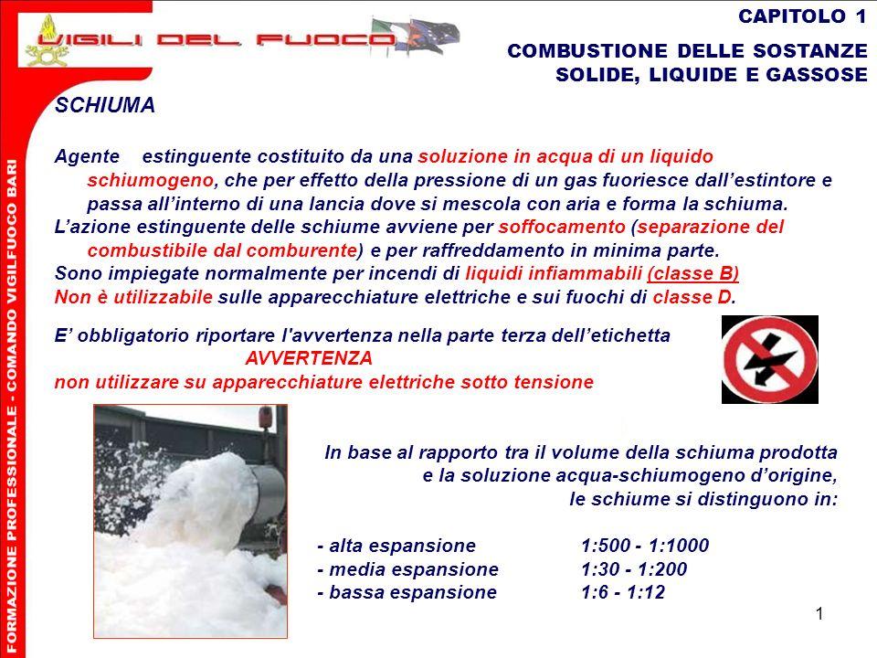 1 CAPITOLO 1 COMBUSTIONE DELLE SOSTANZE SOLIDE, LIQUIDE E GASSOSE SCHIUMA Agenteestinguente costituito da una soluzione in acqua di un liquido schiumo