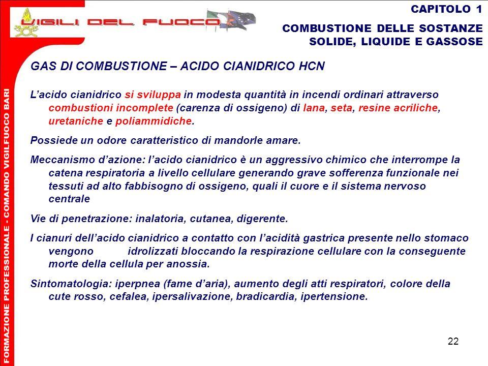 22 CAPITOLO 1 COMBUSTIONE DELLE SOSTANZE SOLIDE, LIQUIDE E GASSOSE GAS DI COMBUSTIONE – ACIDO CIANIDRICO HCN Lacido cianidrico si sviluppa in modesta