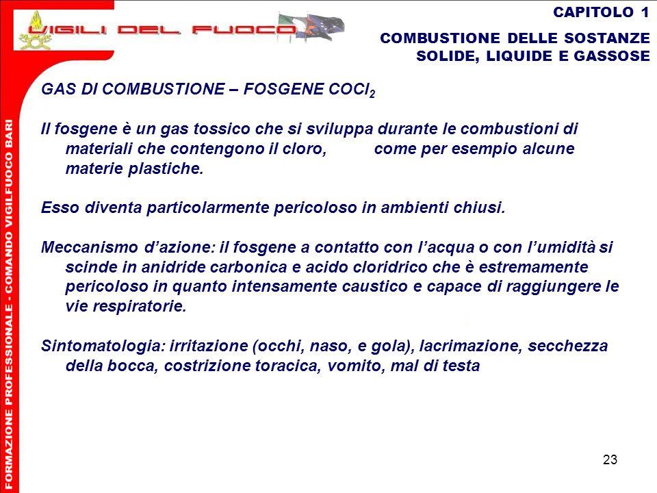 23 CAPITOLO 1 COMBUSTIONE DELLE SOSTANZE SOLIDE, LIQUIDE E GASSOSE GAS DI COMBUSTIONE – FOSGENE COCl 2 Il fosgene è un gas tossico che si sviluppa dur