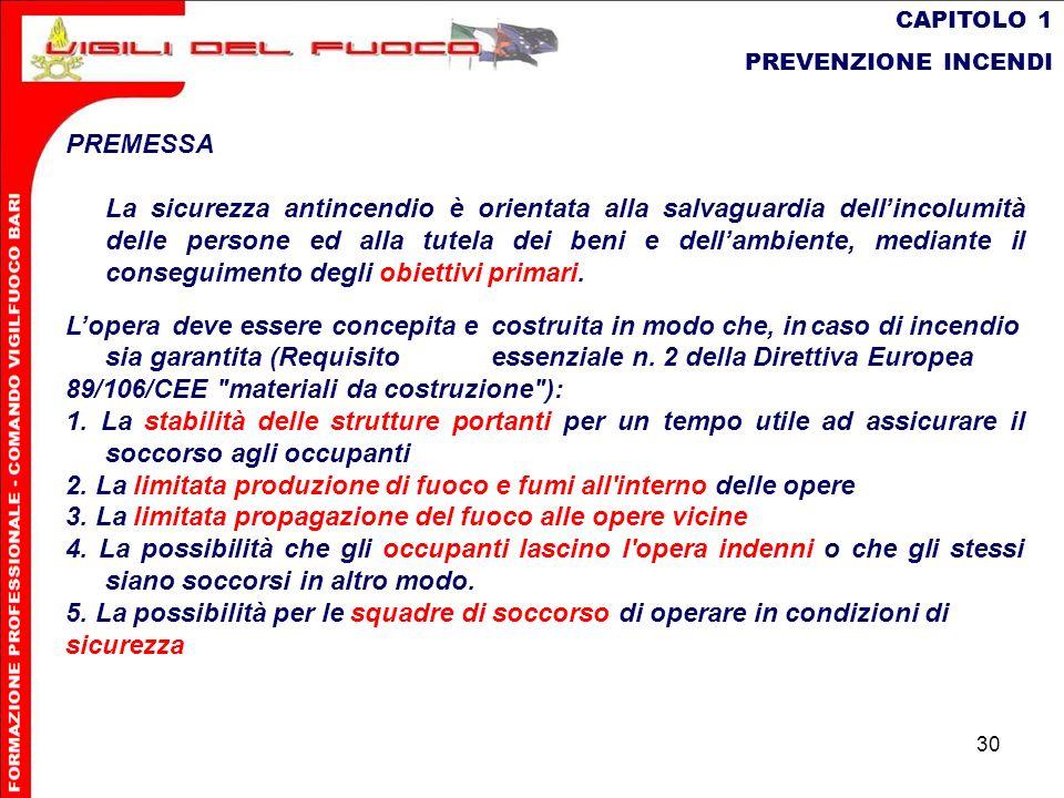 30 CAPITOLO 1 PREVENZIONE INCENDI PREMESSA La sicurezza antincendio è orientata alla salvaguardia dellincolumità delle persone ed alla tutela dei beni
