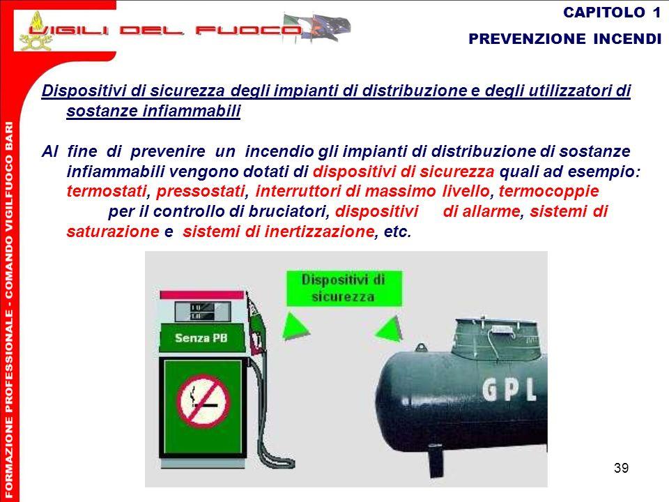 39 CAPITOLO 1 PREVENZIONE INCENDI Dispositivi di sicurezza degli impianti di distribuzione e degli utilizzatori di sostanze infiammabili Al fine di pr