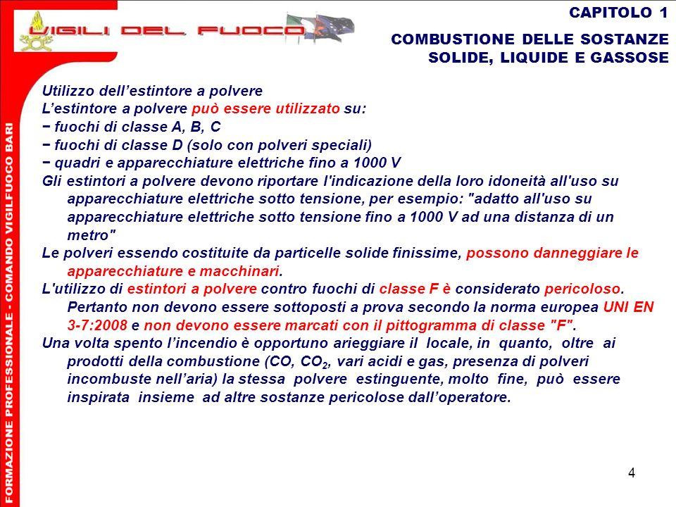 4 CAPITOLO 1 COMBUSTIONE DELLE SOSTANZE SOLIDE, LIQUIDE E GASSOSE Utilizzo dellestintore a polvere Lestintore a polvere può essere utilizzato su: fuoc