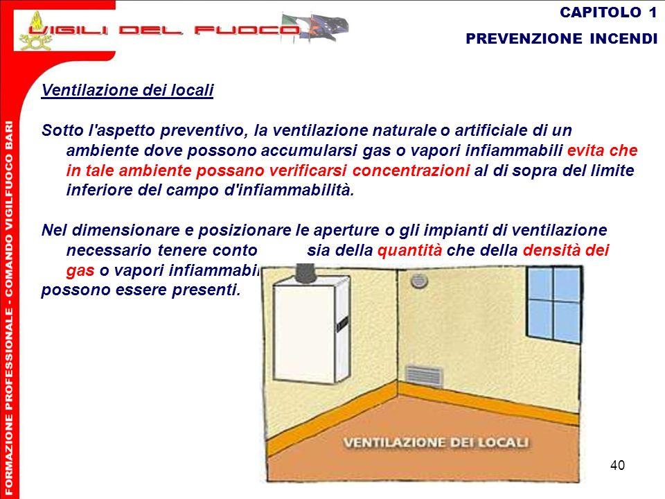 40 CAPITOLO 1 PREVENZIONE INCENDI Ventilazione dei locali Sotto l'aspetto preventivo, la ventilazione naturaleo artificiale di un ambiente dove posson