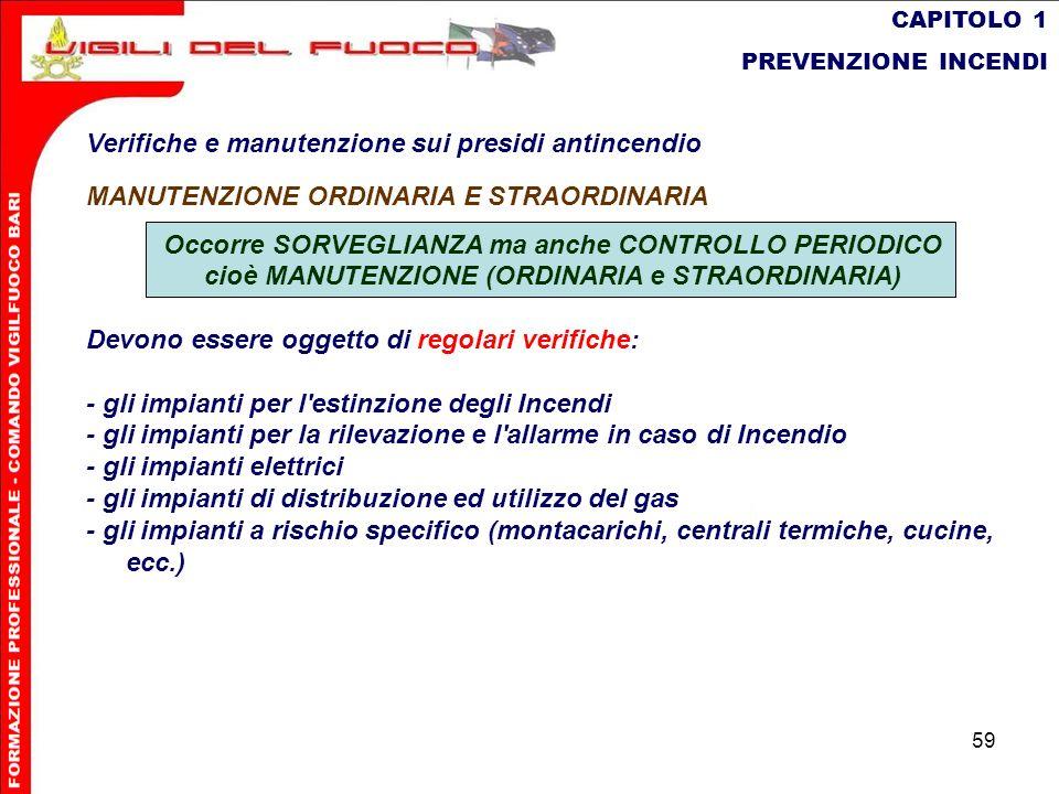 59 CAPITOLO 1 PREVENZIONE INCENDI Verifiche e manutenzione sui presidi antincendio MANUTENZIONE ORDINARIA E STRAORDINARIA Occorre SORVEGLIANZA ma anch