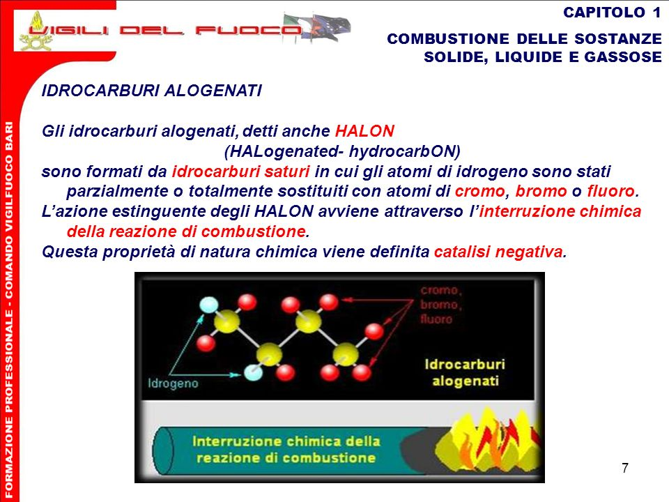 7 CAPITOLO 1 COMBUSTIONE DELLE SOSTANZE SOLIDE, LIQUIDE E GASSOSE IDROCARBURI ALOGENATI Gli idrocarburi alogenati,detti anche HALON (HALogenated- hydr