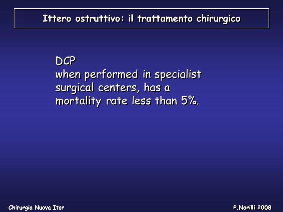 Ittero ostruttivo: il trattamento chirurgico Chirurgia Nuova Itor P.Narilli 2008 DCP when performed in specialist surgical centers, has a mortality ra