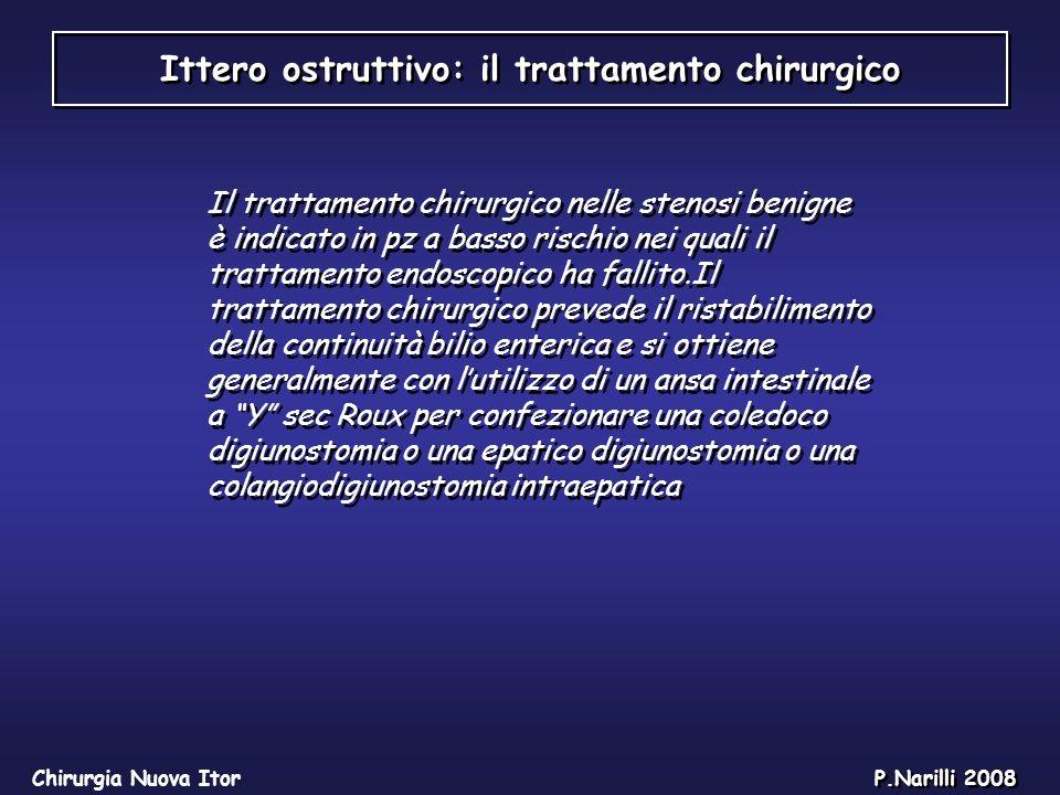 Ittero ostruttivo: il trattamento chirurgico Chirurgia Nuova Itor P.Narilli 2008 Il trattamento chirurgico nelle stenosi benigne è indicato in pz a ba