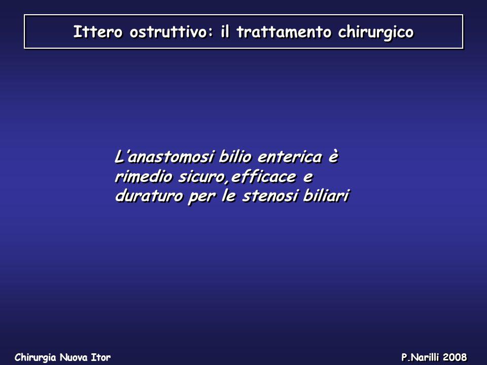 Ittero ostruttivo: il trattamento chirurgico Chirurgia Nuova Itor P.Narilli 2008 Lanastomosi bilio enterica è rimedio sicuro,efficace e duraturo per l