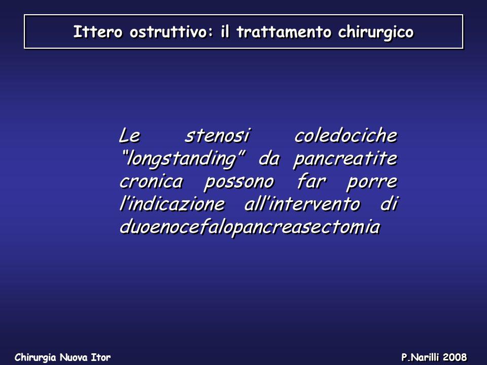 Ittero ostruttivo: il trattamento chirurgico Chirurgia Nuova Itor P.Narilli 2008 Le stenosi coledociche longstanding da pancreatite cronica possono fa