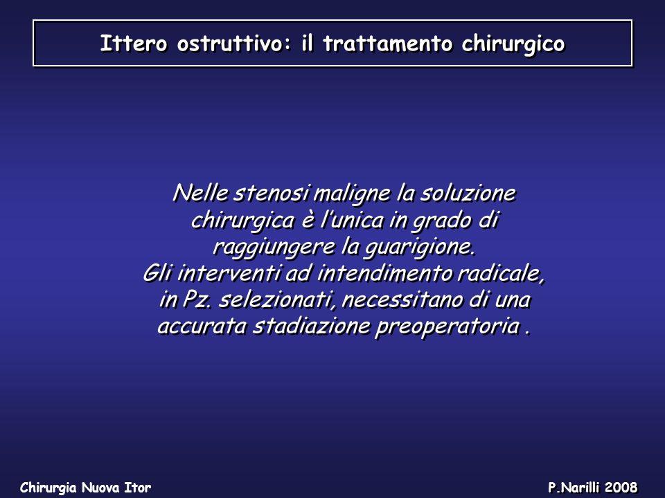 Ittero ostruttivo: il trattamento chirurgico Chirurgia Nuova Itor P.Narilli 2008 Nelle stenosi maligne la soluzione chirurgica è lunica in grado di ra