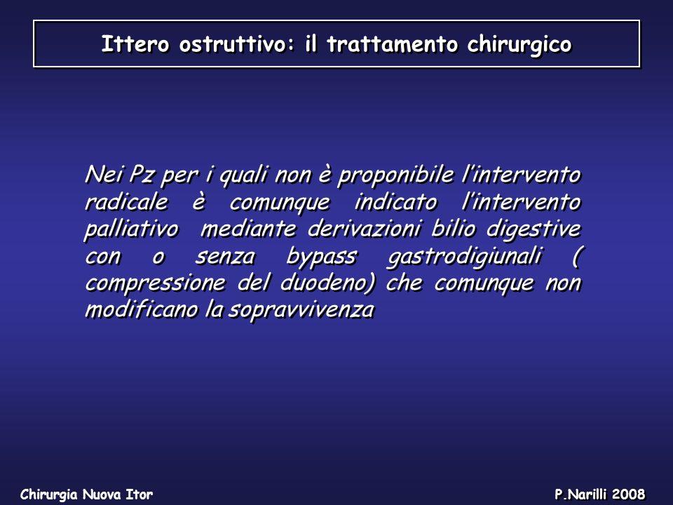 Ittero ostruttivo: il trattamento chirurgico Chirurgia Nuova Itor P.Narilli 2008 Nei Pz per i quali non è proponibile lintervento radicale è comunque