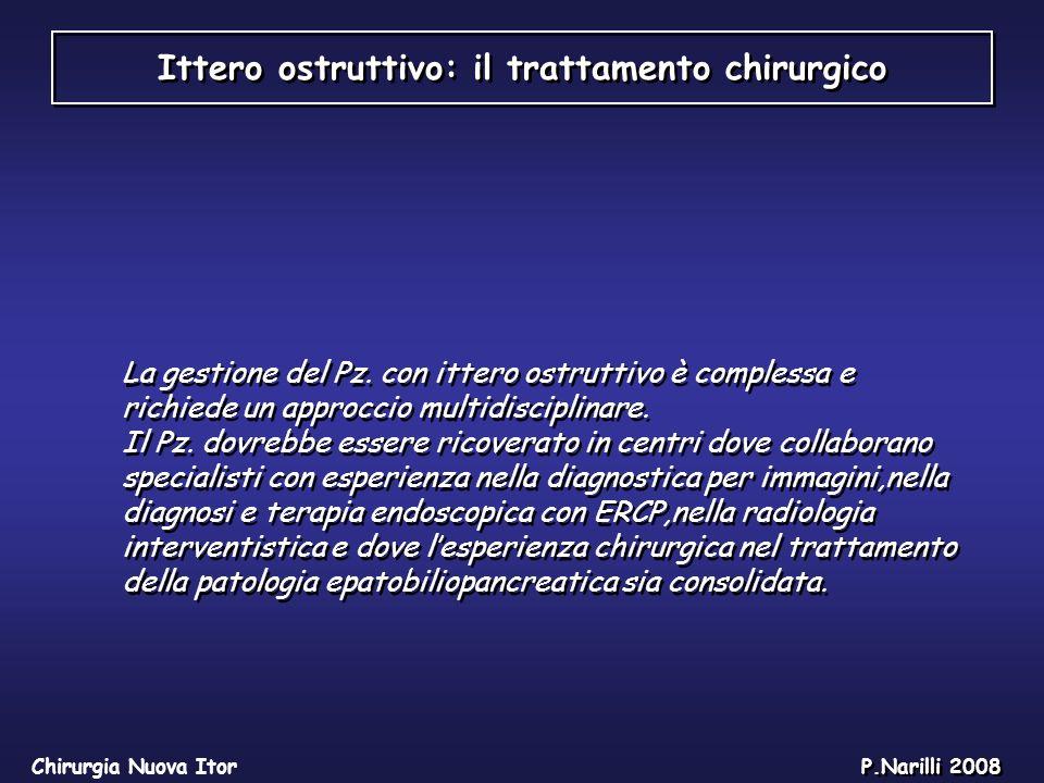 Ittero ostruttivo: il trattamento chirurgico Chirurgia Nuova Itor P.Narilli 2008 La gestione del Pz. con ittero ostruttivo è complessa e richiede un a