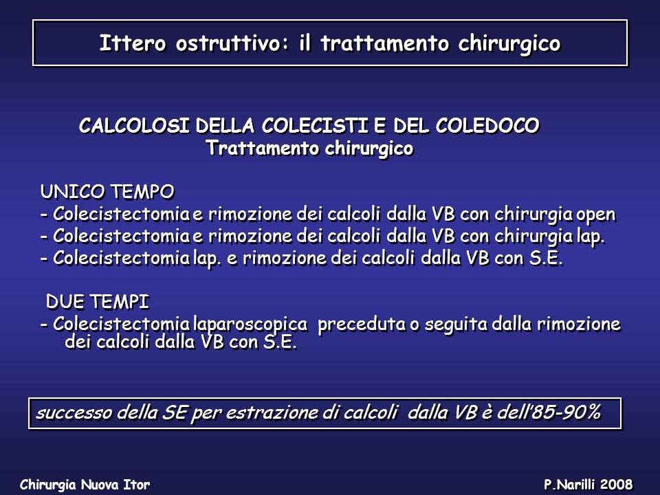 Ittero ostruttivo: il trattamento chirurgico Chirurgia Nuova Itor P.Narilli 2008 Nella colangite sclerosante primitiva in alternativa alle dilatazioni,in casi selezionati,ed in pz.non cirrotici è indicata la resezione della VB extraepatica
