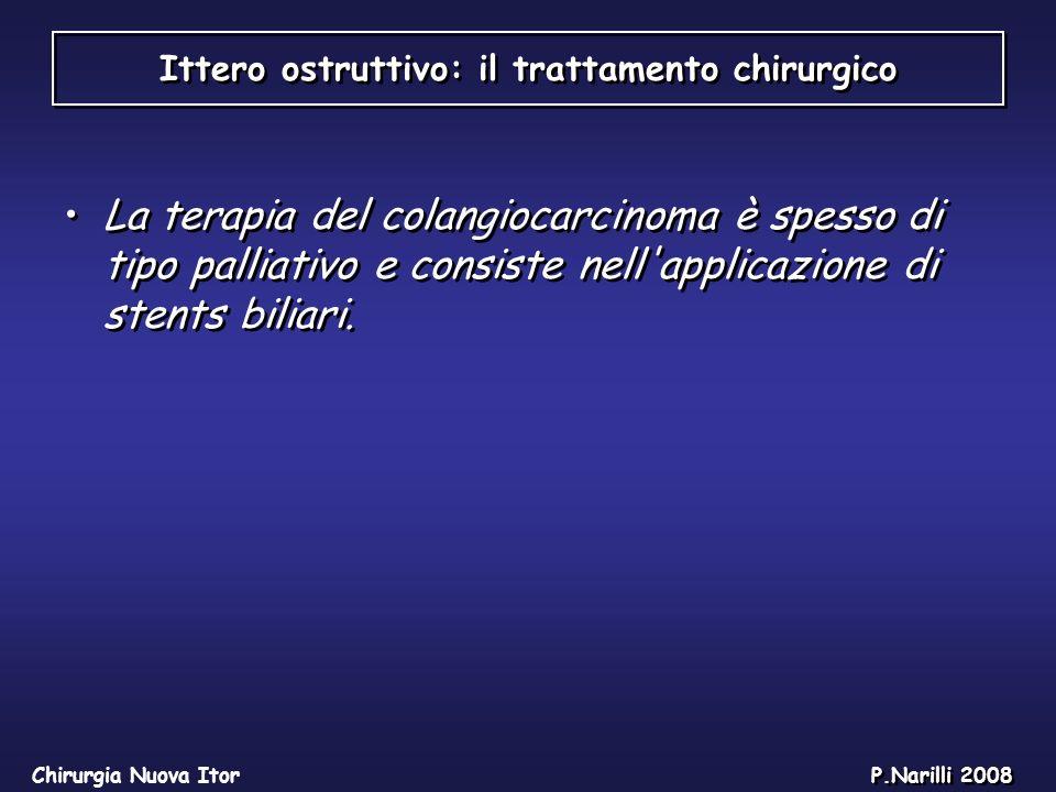 Ittero ostruttivo: il trattamento chirurgico Chirurgia Nuova Itor P.Narilli 2008 La terapia del colangiocarcinoma è spesso di tipo palliativo e consis