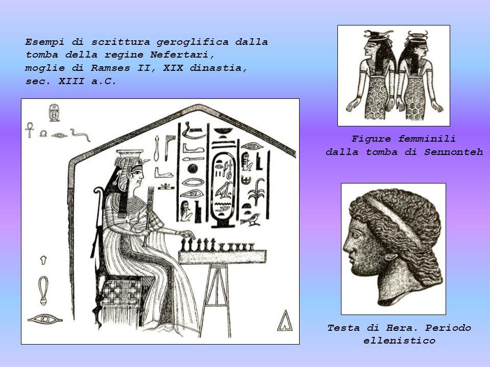 Esempi di scrittura geroglifica dalla tomba della regine Nefertari, moglie di Ramses II, XIX dinastia, sec. XIII a.C. Figure femminili dalla tomba di
