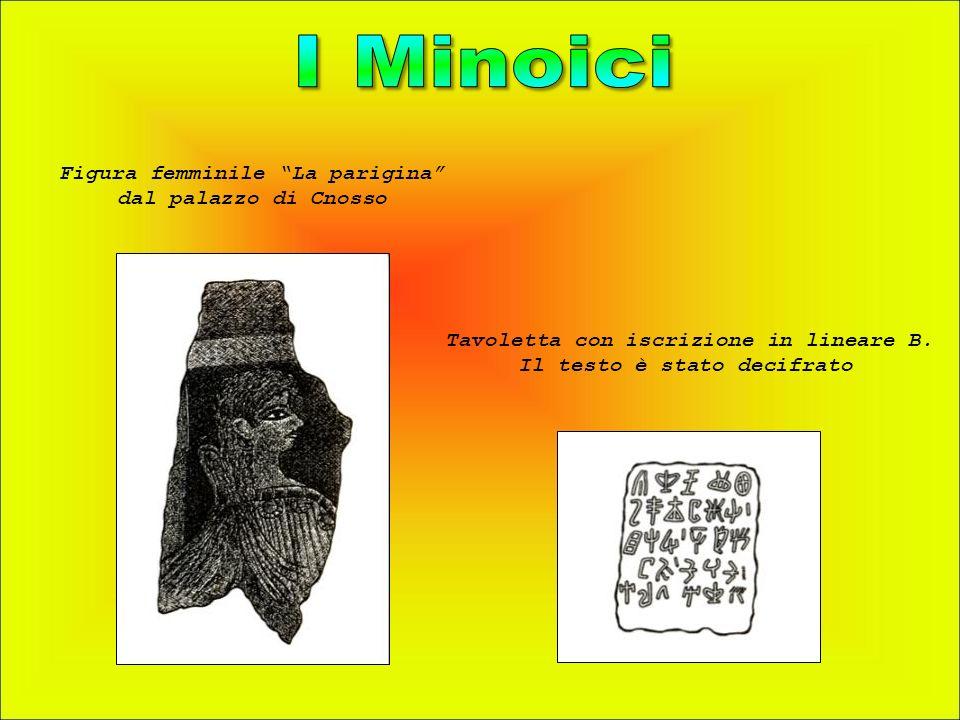 Figura femminile La parigina dal palazzo di Cnosso Tavoletta con iscrizione in lineare B. Il testo è stato decifrato
