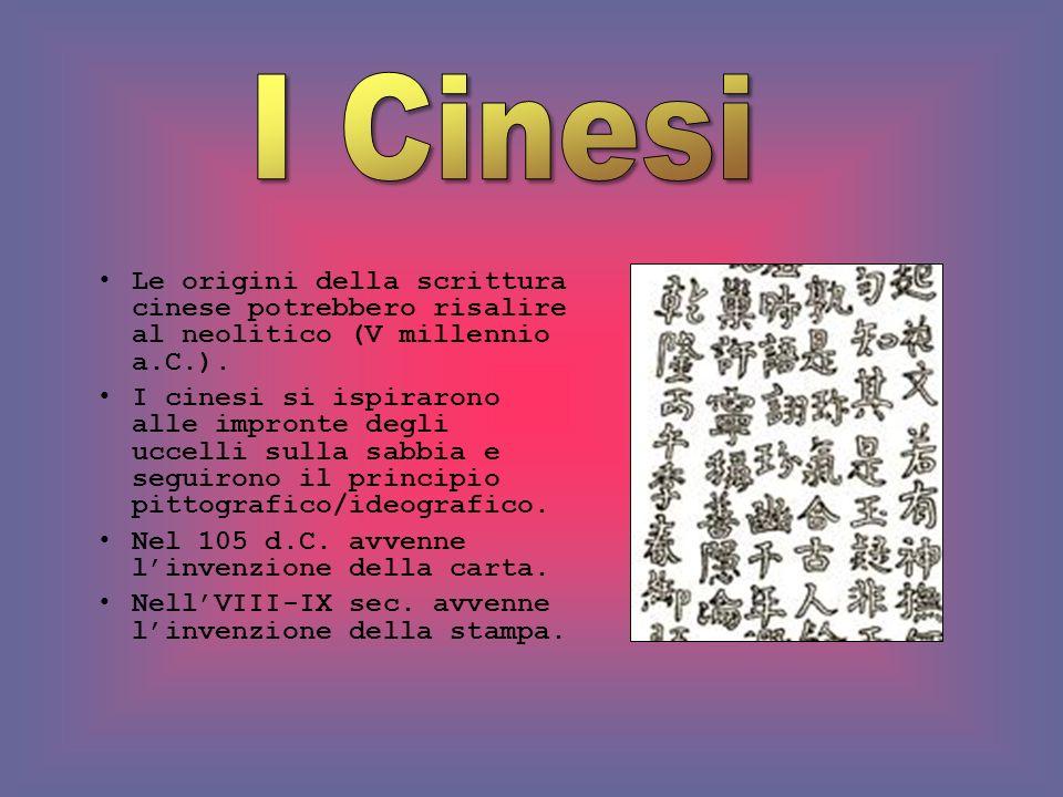 Le origini della scrittura cinese potrebbero risalire al neolitico (V millennio a.C.). I cinesi si ispirarono alle impronte degli uccelli sulla sabbia
