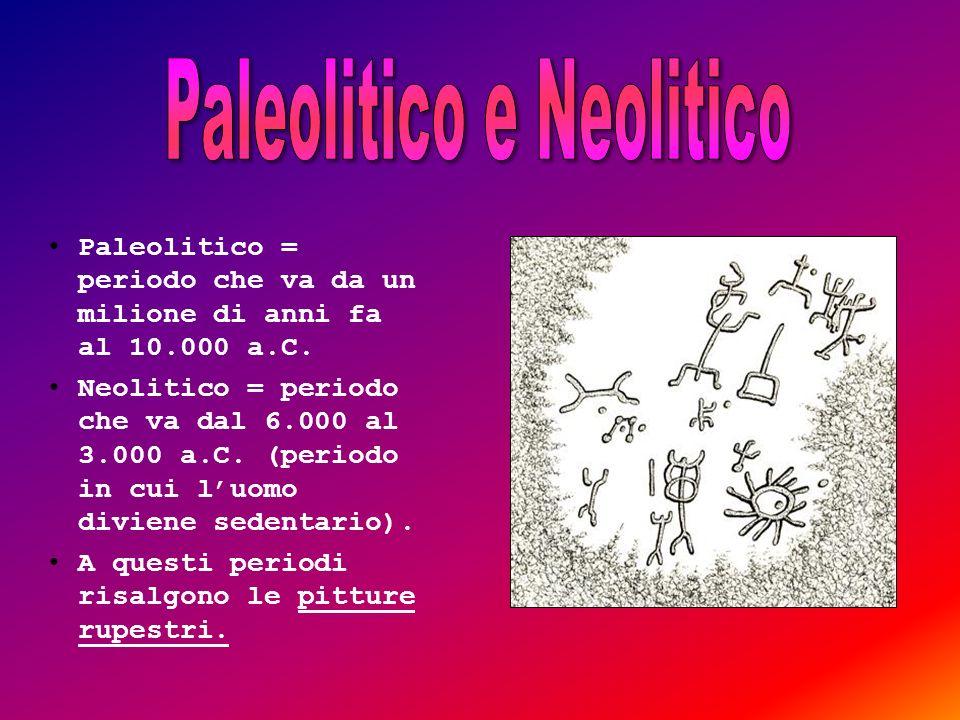 Paleolitico = periodo che va da un milione di anni fa al 10.000 a.C. Neolitico = periodo che va dal 6.000 al 3.000 a.C. (periodo in cui luomo diviene