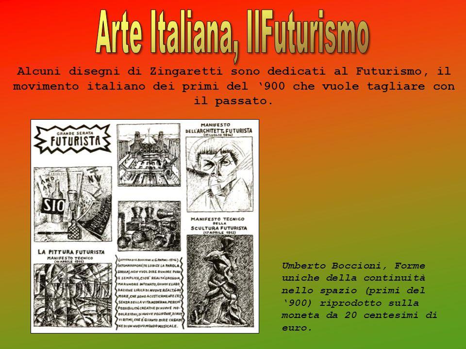 Alcuni disegni di Zingaretti sono dedicati al Futurismo, il movimento italiano dei primi del 900 che vuole tagliare con il passato. Umberto Boccioni,