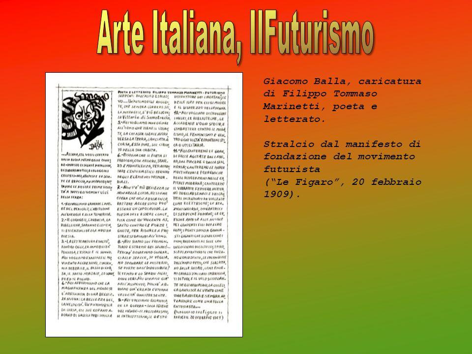 Giacomo Balla, caricatura di Filippo Tommaso Marinetti, poeta e letterato. Stralcio dal manifesto di fondazione del movimento futurista (Le Figaro, 20