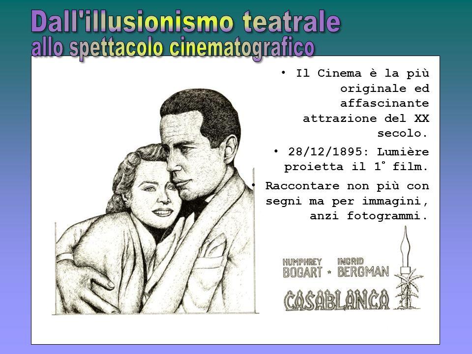 Il Cinema è la più originale ed affascinante attrazione del XX secolo. 28/12/1895: Lumière proietta il 1° film. Raccontare non più con segni ma per im